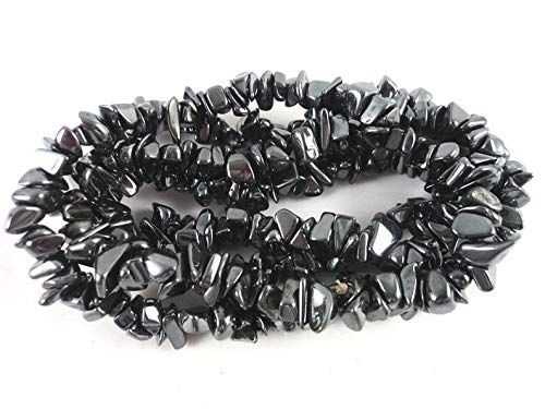 Jaipur Gems Mart Semi Precious Natural Uncut Chips Nugget Chips/Free Freeform Size Hematite Gun Metal Black Color Chips Gemstone Beads 1 Line 34' 4-5 mm Jewelry Making Bracelet Earrings Necklace
