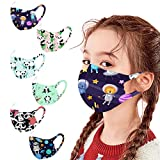 6pcs Kids Reusable Face Masks Washable Cloth Face Mask Cute Cartoon Breathable Seamless Face Covering for Children