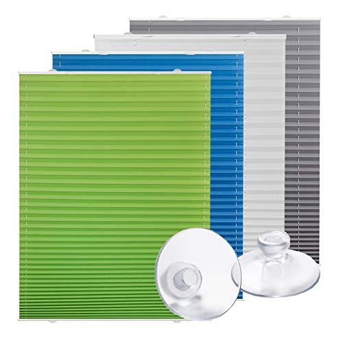 Lichtblick Plissee Haftfix, 75 x 130 cm (B x L) in Weiß, ohne Bohren, moderner Sicht-, Blend- und Sonnenschutz in Crush-Optik, lichtdurchlässig & Blickdicht