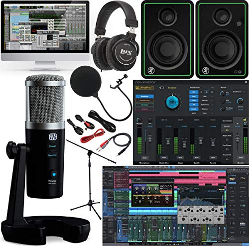 PreSonus Revelator Professional USB Microphone with Studio Live Vocal Processing and Studio One Artist Software Pack with CR3-X Studio Monitor Pair