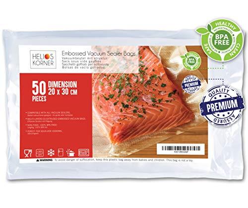 Bolsas de Vacío Para Alimentos, 20x30cm | 50 Bolsas | Bolsas de vacío gofradas para Conservación y Cocción Sous Vide Cocina | Aprobación de la FDA y sin BPA