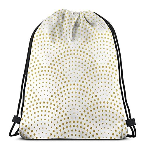 DJNGN Art Decó, Oro, Brillante, Puntos, Blanco, ilustración Stock Water Resistant String Bag Sports Sackpack Gym Sack For Men Women