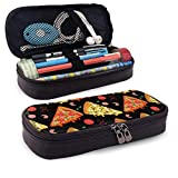 Yaxinduobao Cremallera de cuero con estuche para lápices Cartoon Pizza Slices and Ingredients Leather Pencil Case with Zipper PU Leather Stationery Art Supplies College Office Pencil Holder