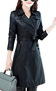 Women's Quilted Double-Breasted Faux Leather Casual Long Trench Coats