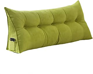 Roner Large PP-Cotton Filled Triangular Wedge Cushion Bed Backrest Positioning Support Upholstered Headboard Sofa Bed Daybed Reading Pillow Removable Washable Cover 24 Inches Green