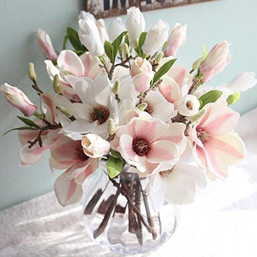 Longra Wohnaccessoires & Deko Künstliche Blumen Kunstpflanze 1PCS künstliche Blatt Magnolia Blumen Hochzeit Bouquet Party Home Decor Kunstblumen (B)