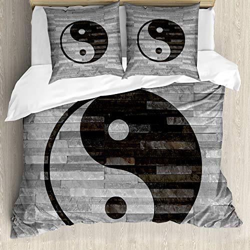 ABAKUHAUS Ying Yang Bettbezugs Set Für Doppelbetten, Rustikale Moderne Art, Milbensicher Allergiker geeignet mit Kissenbezügen, Schwarzgrau