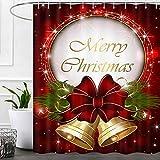 Cortinas de ducha de decoración navideña para baño, decoraciones navideñas de tela de ducha, juego de cortinas de ducha, campanas de Navidad, accesorios de baño, decoración de invierno, ganchos...