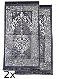 2x Muslimische Gebetsteppiche TAFTA Super dünn in Schwarz/Gold | Namazlik,Seccade | Gebets Matte | Salah Sejadah, islamic prayer mat rug, für das Gebet im Islam - Geschenk Idee, Größe 1,20x0,68m