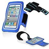 Cadorabo ! Neopren Sport Fitnessstudio Jogging Armband Oberarmtasche für Smartphones mit 3,7 – 4.5 Zoll zb. iPhone 4, S3 Mini usw. mit Schlüsselfach, Kopfhöreranschluss in blau
