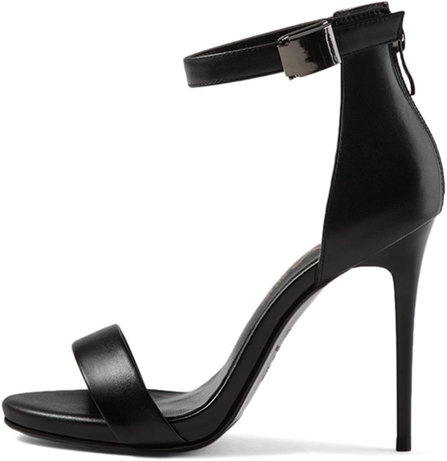 EUDNLMEIM Leather Ladies High Heels in Summer,A Word with Stiletto Heels-Black Foot Length=22.3CM(8.8Inch)