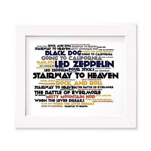Póster de Led Zeppelin enmarcado regalos A4 impresión IV 4 John Bonham Jimmy página Cd foto marco A3 canción letra arte