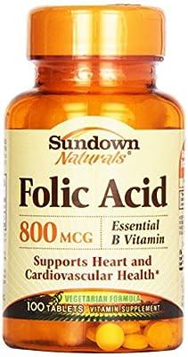 Sundown Naturals Sundown, Folic Acid 800 Mcg Tablets, 100 Ct