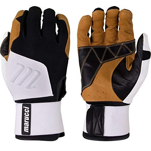 Marucci Blacksmith Full-Wrap Baseball Batting Gloves, White/Black, Adult Large