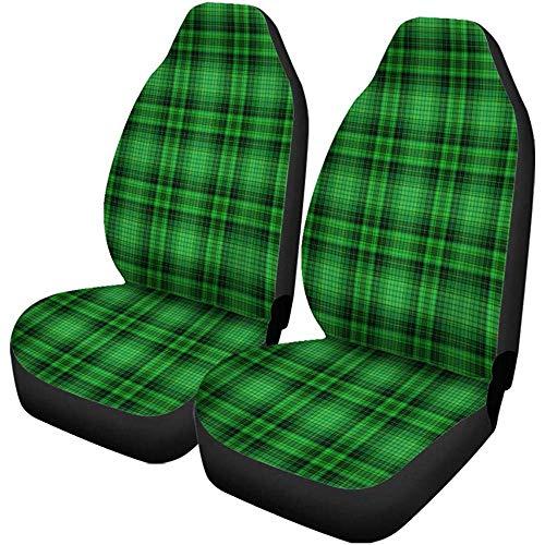 Olive Croft 2PCS Autositzbezüge Muster Grün Plaid Irish Kelly Bright Check Karo Klee Universal Protector Passt für Auto, SUV Limousine, LKW