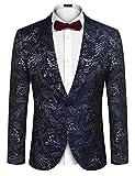 COOFANDY Men's Floral Tuxedo Suit Jacket Slim Fit Dinner Jacket Party Prom Wedding Blazer Jackets (Navy Blue-3, XL (US L+, Chest 47.6'))