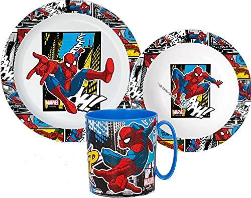 Spiderman Service de table pour enfant avec assiette, bol à céréales et gobelet
