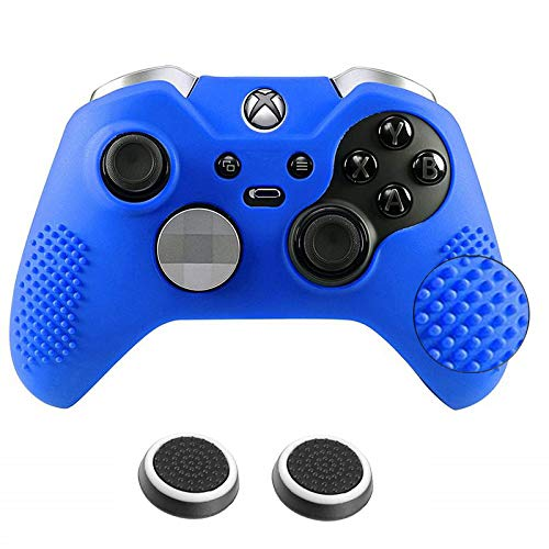Antil-Slip Silicone Controller Cover Protective Case for Xbox One Elite Controller Soft Cover Skin with 2 Thumb Grips(Blue)