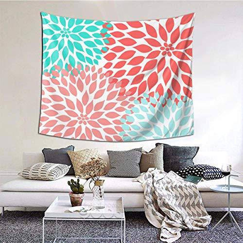 Qian Mu888 Coral Seafoam Teal Dahlia Moderno Tapiz de Pared Decoracion Decoracion Decoracion Perfecta Dormitorio Salón Dormitorio 60x50inch