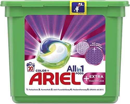 Ariel Waschmittel Pods All-in-1, Color Waschmittel, Farbschutz + EXTRA Faserpflege, 20 Waschladungen