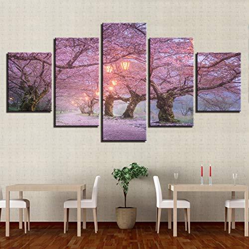 LPHMMD 5 Leinwandbilder Leinwand Wandkunst Bilder Wohnkultur 5 Stücke Schöne Kirschblüte Straße Gemälde HD Drucke Morgen Laternen Poster-40x60cm 40x80cm 40x100cm