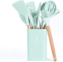 Agzsovep 11PCS Cooking Spatula Spoon Wooden Handle Silicone Kitchen Utensils Set Storage Barrel Square