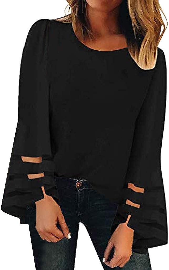 LINKIOM Women's V Neck Mesh Panel Blouse Long Sleeve O Neck Casual Loose Top Shirt
