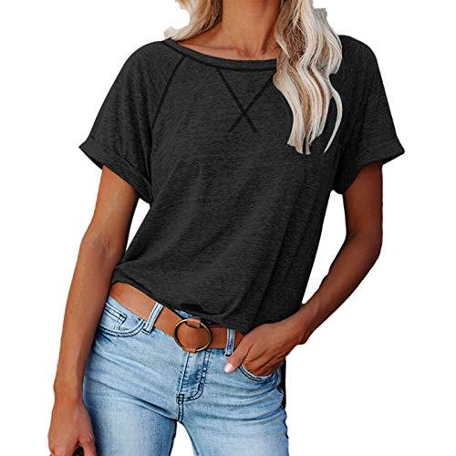 Camiseta bsica de verano para mujer, informal, slida, elegante, manga corta, cuello redondo, bsica, camiseta de verano, negro B, XXL