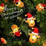 Guirnalda de Luces NavideñAs, 30 Led Bonito Sombrero de Navidad de Papá Noel y Luces de Hadas de Renos, Luces de Alambre de Cobre Que Funcionan Con Pilas Para áRbol de Navidad JardíN Patio
