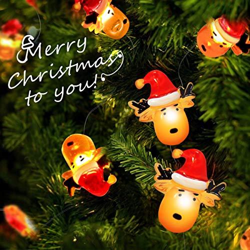 Luci Natalizie, Cappelli Natalizi di Babbo Natale 30led e Lucine Con Renna, Luci Della Camera da Letto Alimentate a Batteria Con di Rame per Natale Terrazza Giardino Festa Compleanno (Natale BB)