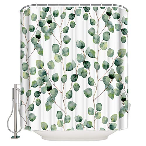BestLives Watercolor Vine Fabric Shower Curtain for Bathroom, Green Floral Eucalyptus Round Leaves Pattern Branches Waterproof Polyester Curtains with Hooks Small Stall Size 54x78inch