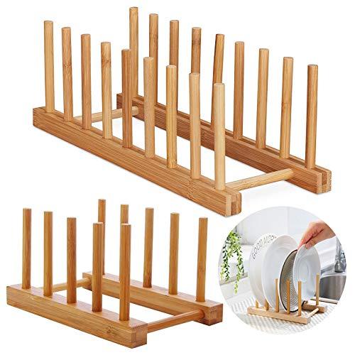 2 Pcs Rack Plateau Rangement Porte Vaisselle Cuisine Plaque Bambou Egouttoir Verticale Support Bambou Assiettes pour Assiettes, Bols, Tasses,Couvercles Casseroles,Planches Découper—4 Grilles+8 Grilles