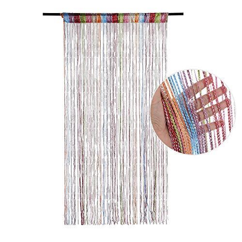 Dihope cortina opaca antimoscas, cortina de puerta, panel mosquitero, con lentejuelas, cortina de decoración de pared, ventana, sala, de flecos, 100 x 200 cm, poliéster, Coloré, Taille:100*200cm