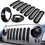E-cowlboy Front Grille Mesh Inserts & Headlight Cover for Jeep Wrangler JK JKU 2007~2017【Upgrade Matte Black Clip-on Version】