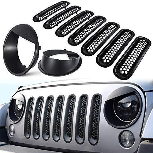 E-cowlboy Front Grille Mesh Inserts & Headlight Cover for Jeep Wrangler JK JKU 2007-2017【Upgrade Matte Black Clip-on Version】