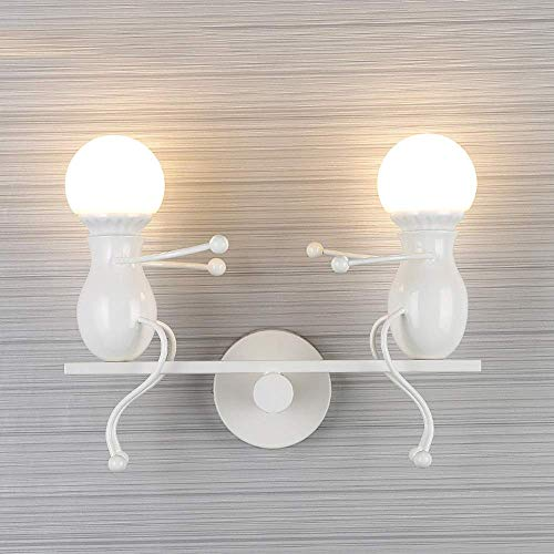 Hai Ying Charmantes slaapkamerlamp, E27, creatieve persoonlijkheid, wandlamp, decoratie, restaurant hal, aansteker, metaallak om te bakken (kleur: wit)