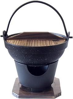 NBRTT Nabu Japonesa Hot Pot Nabe con Tapa de Madera y Estufa, Olla de Hierro Fundido, Juego de Estufa, Tapa, Estilo Sukiyaki de porción Individual