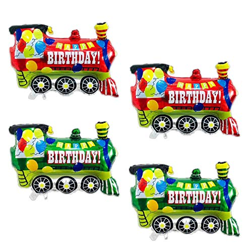 party supplies train toys 4PCS Jumbo Colorful Train Foil Balloons -Colorful Train Themed Party Supplies Decorations Baby Shower Wedding Birthday Party Favors
