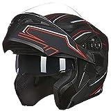 ILM Motorcycle Dual Visor Flip up Modular Full Face Helmet DOT 6 Colors (L, BLACK RED)