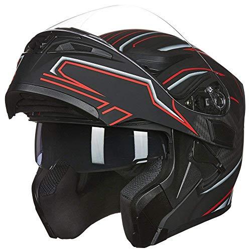 ILM Motorcycle Dual Visor Flip up Modular Full Face Helmet DOT 6 Colors (XL, Black RED)