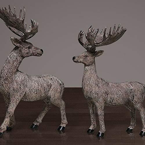 LG Snow Hogar Ciervos Adornos Porche Creativo Salón TV Gabinete Resina Decorativa Artesanía Estreno De Casa Regalos for El Hogar Gray