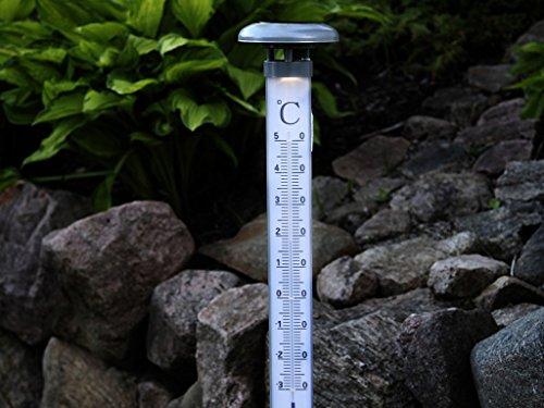 Best Season 479-40 LED-Solar-Thermometer, Höhe 107 cm, 1 warm weiß LED mit Solarpanel inklusive Akku, outdoor, Vierfarb-Karton, silber/grau