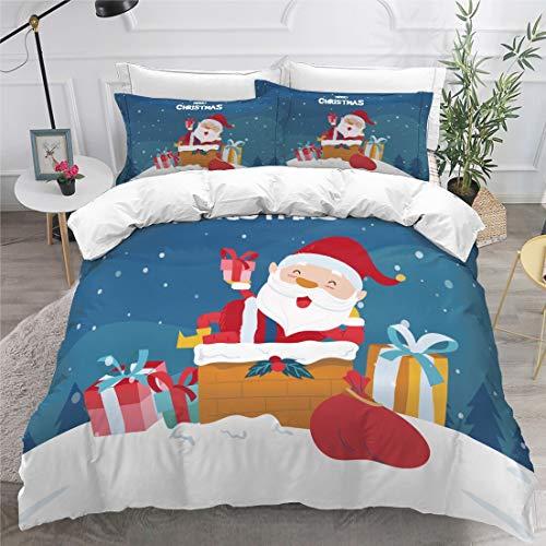 KEKEK 3D Bettwäsche Set weiß Bettbezug Bettwäsche Bettbezug Tagesdecke Abdeckung König Doppel Zweibettzimmer verheiratet Weihnachtsbaum Bettwäsche (YSDS-215,135X200CM)