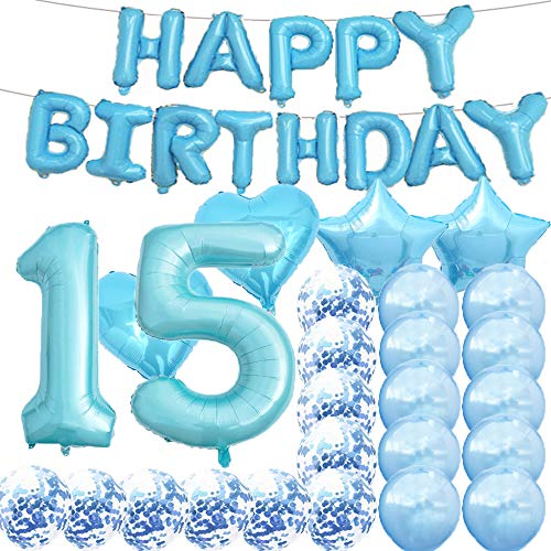 Sweet 15th Birthday Decorations Party Supplies,Blue Number 15 Balloons,15th Foil Mylar Balloons Latex Balloon Decoration,Great 15th Birthday Gifts for Girls,Women,Men,Photo Props