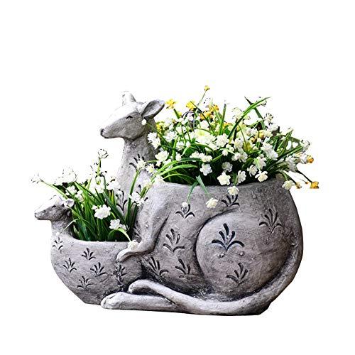 SDBRKYH Garten Skulptur Blumentopf, Känguru Modell Blumen Pflanzer Kreative Sukkulente Blumentopf Garten Dekorationen