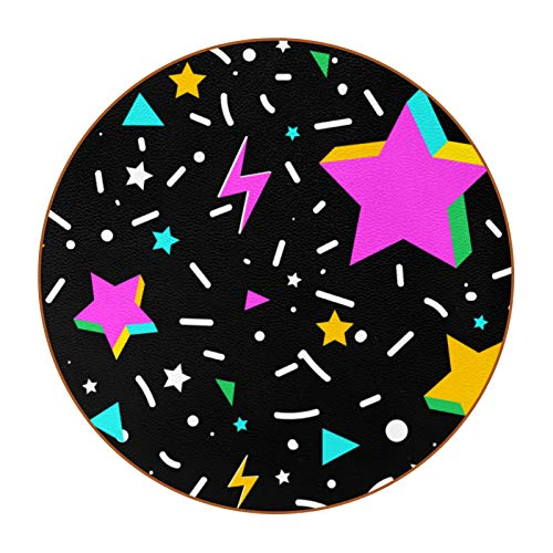 6pcs Microfiber Leather Round Coasters Chic Drinks Bar Coasters Rustic Home Decoration Creativity for Kitchen Living Room Colorful 3D Stars and Confetti-