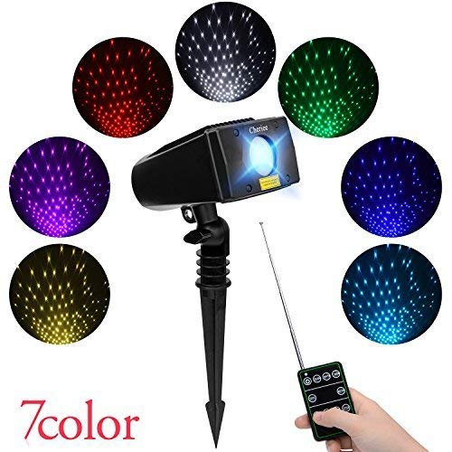 Cheriee Laser Christmas Lights 7 Colors Outdoor White Star Projector with RF Remote Control...