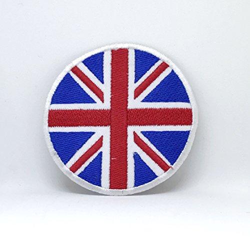 Britse vlag Union Jack ronde rood blauw wit ijzer naaien op geborduurde patch