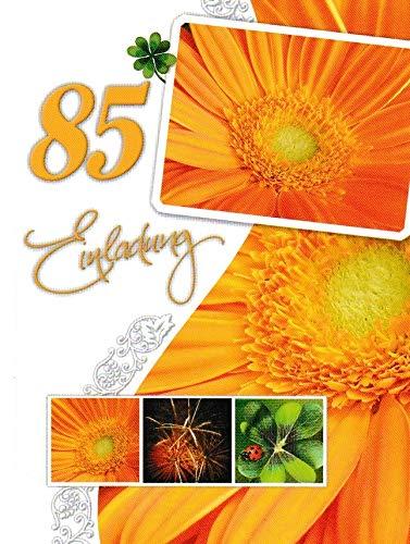Einladungskarten 85. Geburtstag Frau Mann mit Innentext Motiv orangene Blume 10 Klappkarten DIN A6 im Hochformat mit weißen Umschlägen im Set Geburtstagskarten Einladung 85 Geburtstag Mann Frau K258
