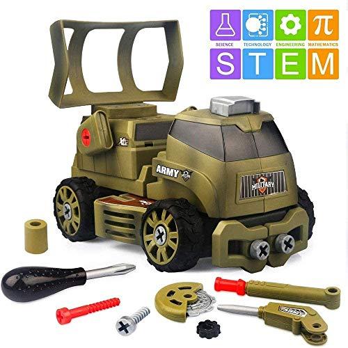Zhangl Crawlers Puzzle Mutter Demontage-Baby Schraube Schraubmontage Demontage Tankwagen Kind Toolbox Spielzeug-Set, montieren das Spielzeug-Set in einen 10-in-1 DIY Armee Spielzeug Tank mit Schraube
